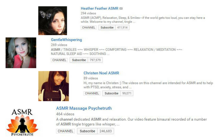 ASMR YouTube Channels description and subscribers