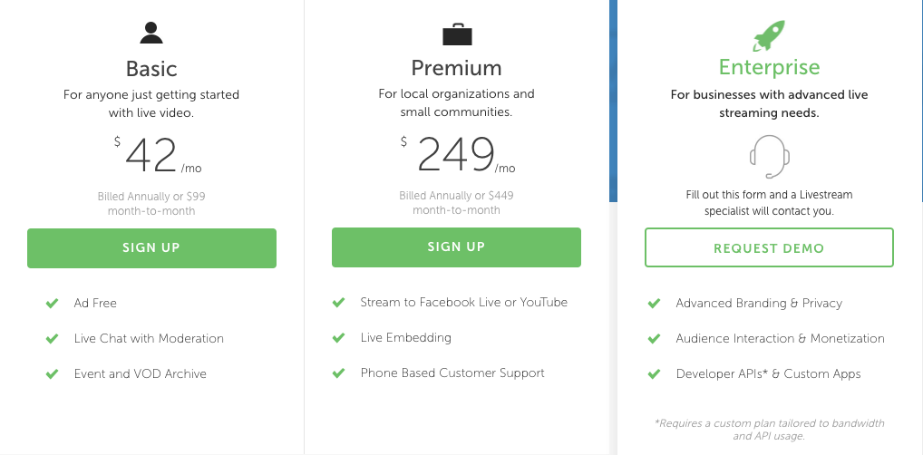 Live Stream Pricing