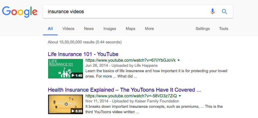 insurance videos while doing web search are all animated videos