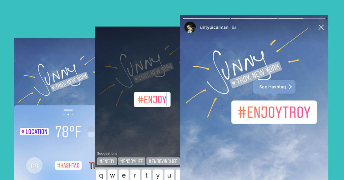 hashtag features instagram story