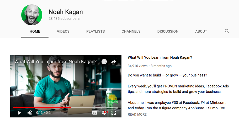 Noah Kagan Youtube Trailer
