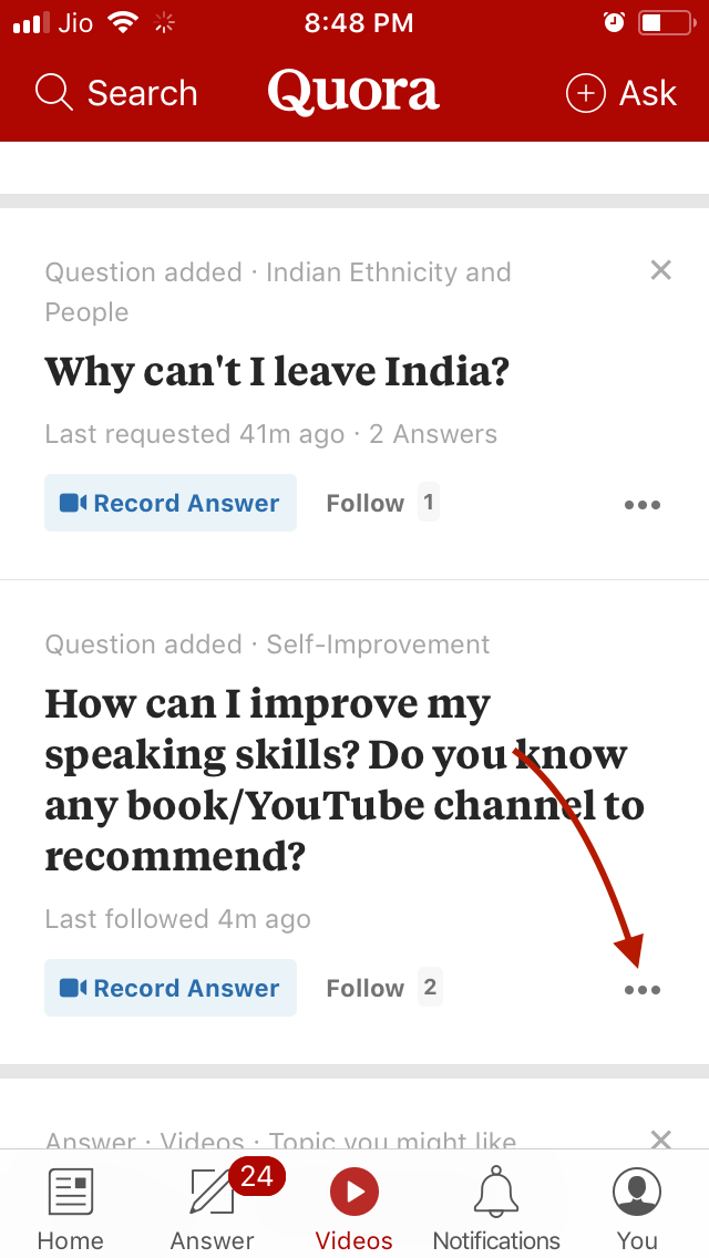Quora Video Option