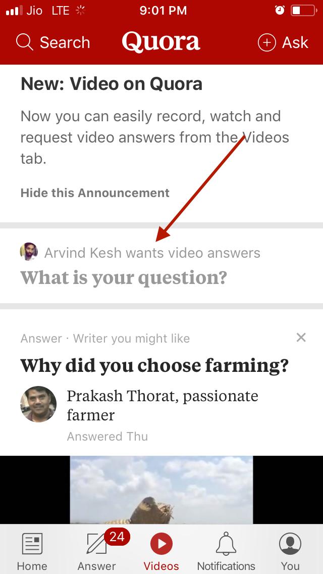 Quora Video Question