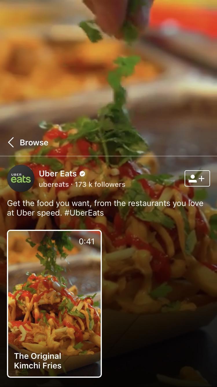 Uber Eats on IGTV