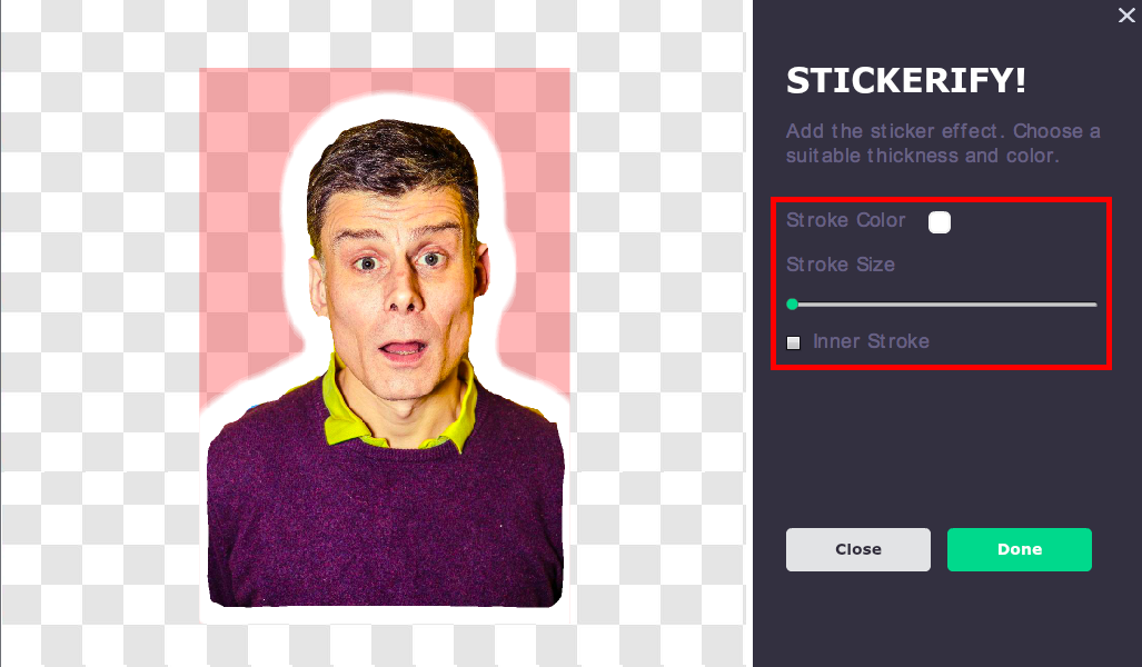 Picmaker sticker effect tool options