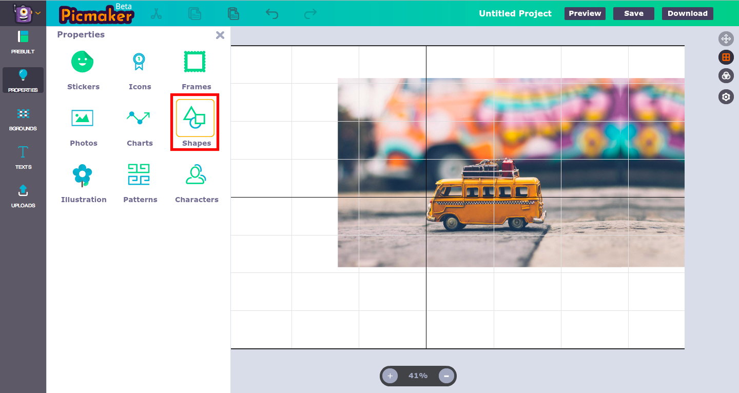Add shapes in Picmaker