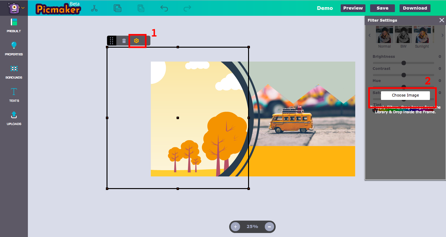 Adding image to frame - Picmaker