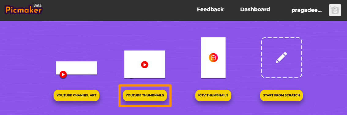 Select YouTube thumbnails from Picmaker app