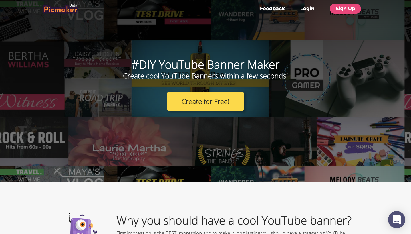 Picmaker YouTube banner maker page
