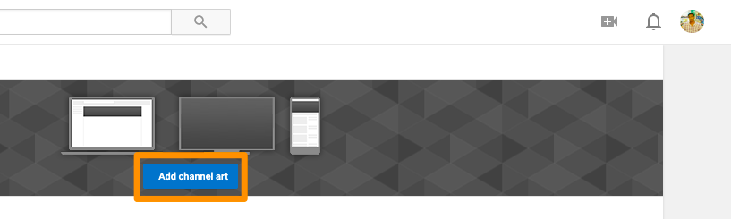 YouTube add channel art button
