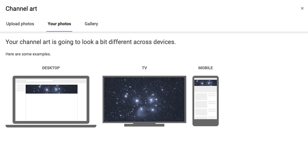 YouTube banner preview across multiple devices