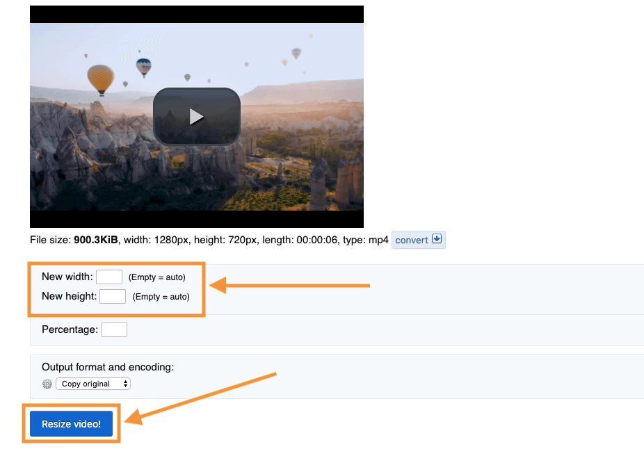 Enter width and height you want to resize video to