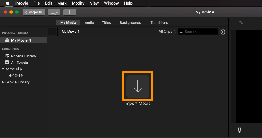 Click Import Media to import the MOV video