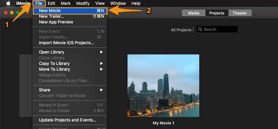 Launch iMovie, click File menu and select New Movie