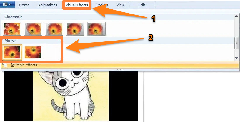 Go to Visual Effects tab and choose Mirror Horizontally or Mirror Vercially