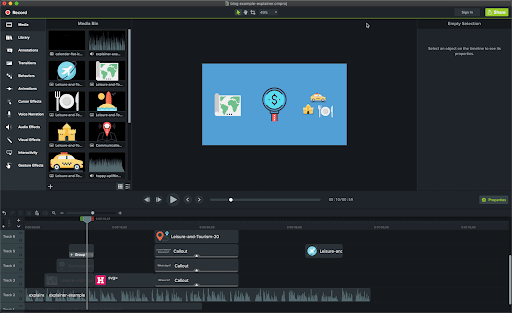 Camtasia Animated Promotional Video Maker User Interface