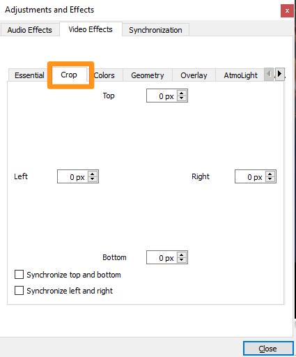 adjust value to crop on windows