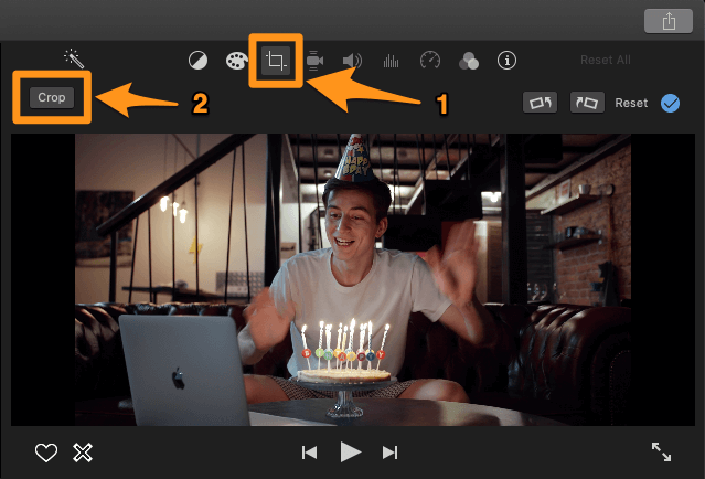 click on the cropping icon and the crop button