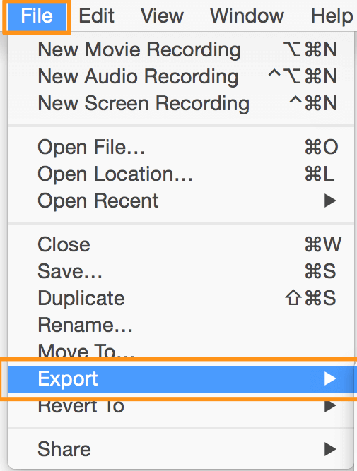 go to file and export