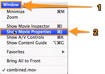 go to window and show movie properties