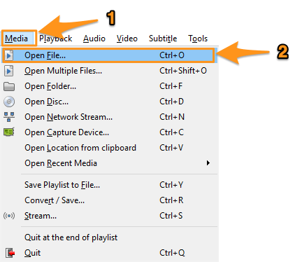 media and open file on windows