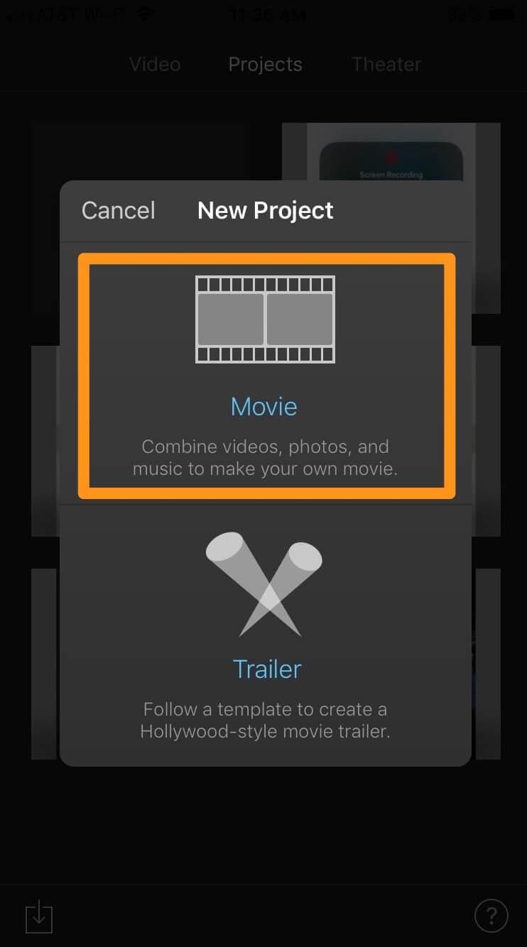pick movie option