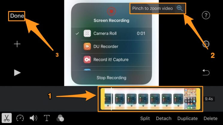 select the video and pinch to zoom and crop