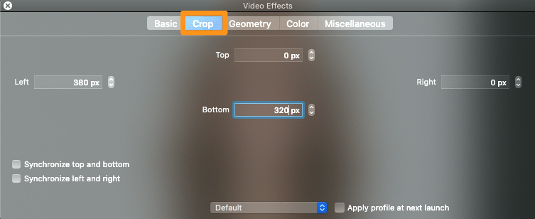 set the values to crop the video on mac