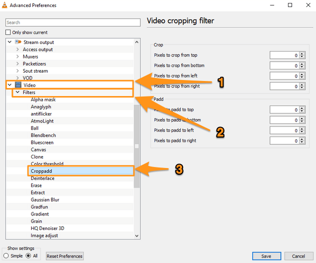 video and filters and croppadd filter on windows