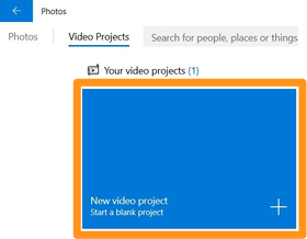 click new video project button