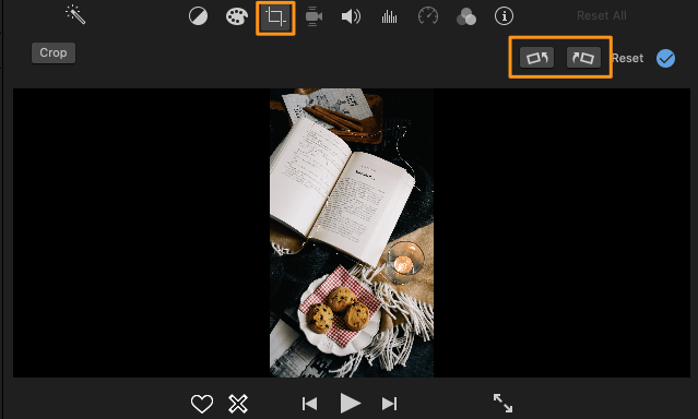 clip cropping button and rotate clockwise or rotate counterclockwise