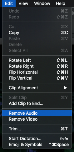 go to edit and remove audio
