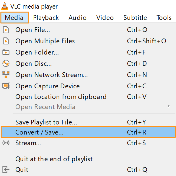 go to media and convert save