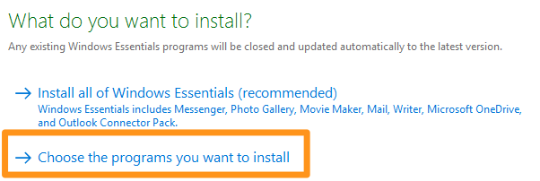 select choose the programs you want to install