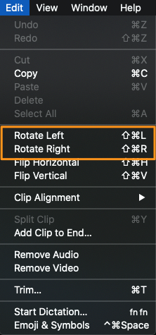 select rotate left or rotate right
