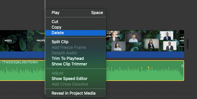 select video clip and delete