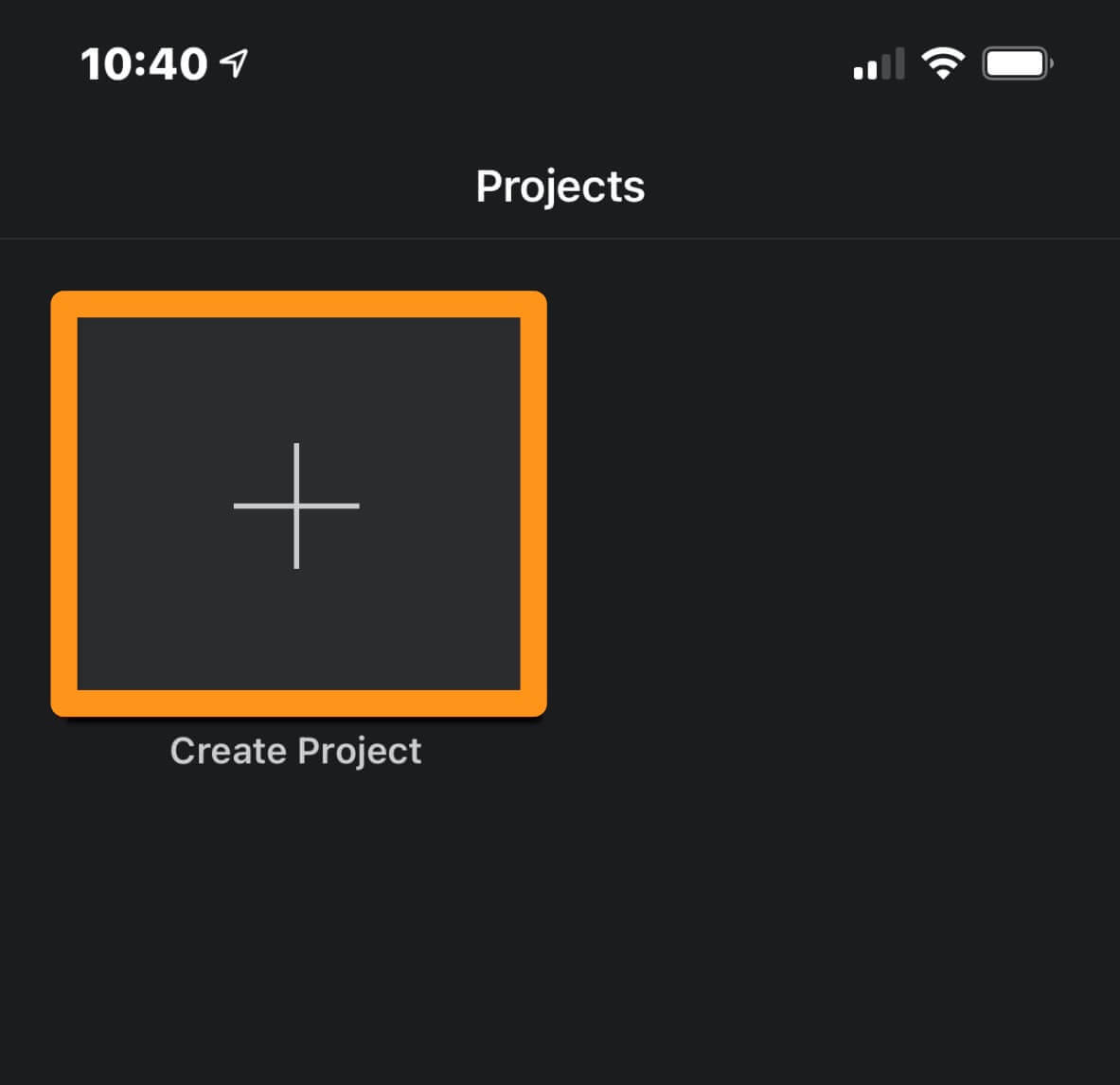 tap create project button