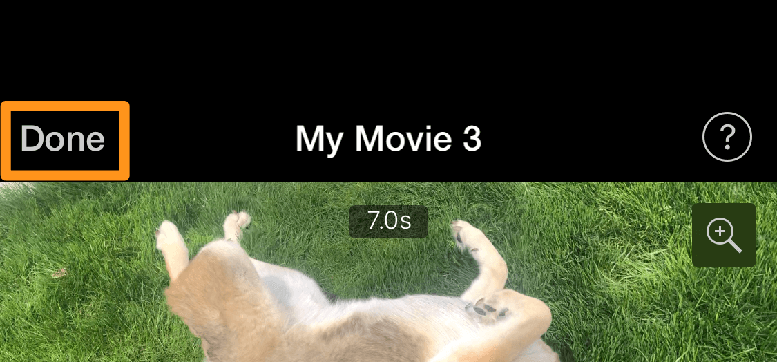 tap done to save and mute video