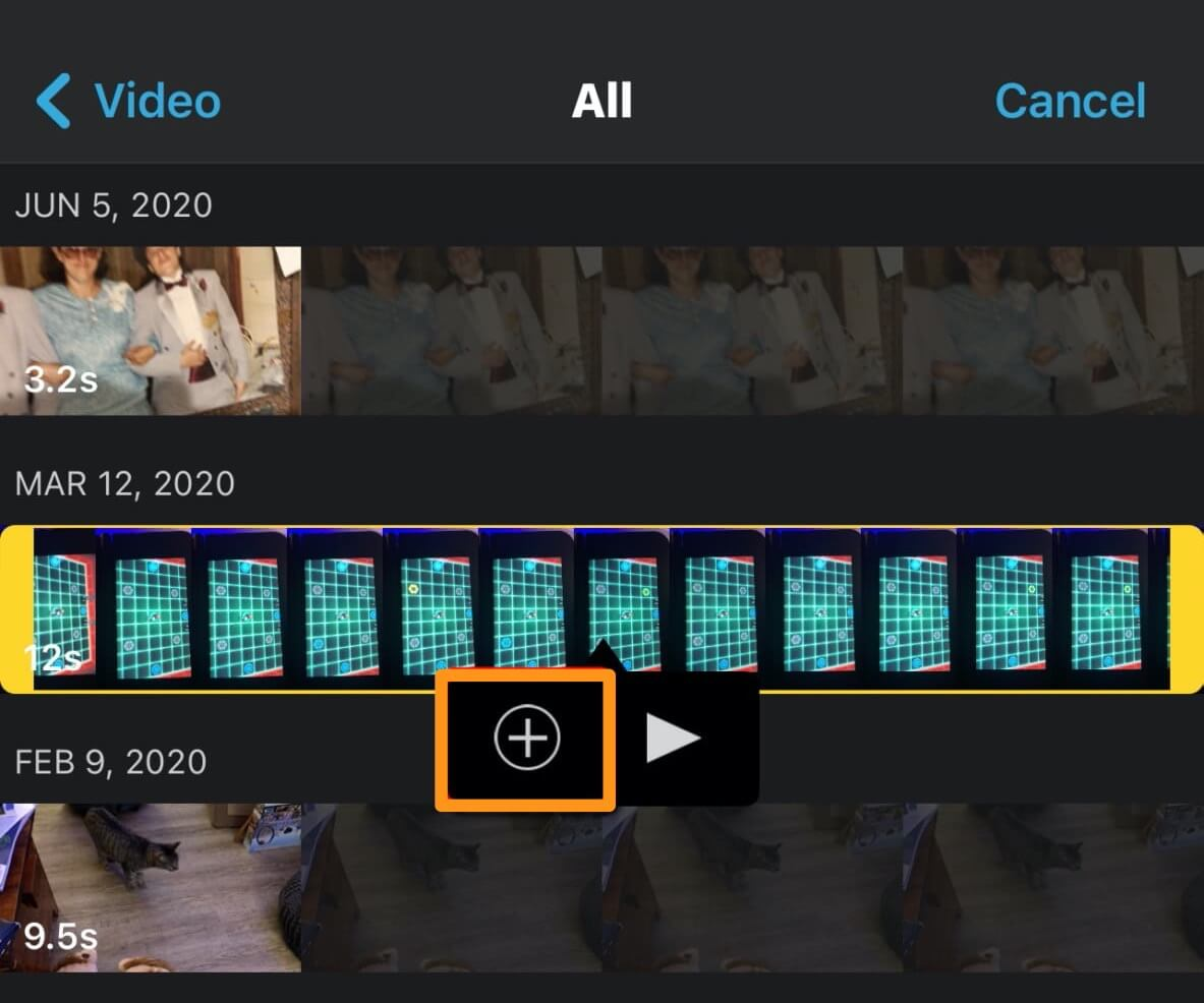 tap plus button to add video