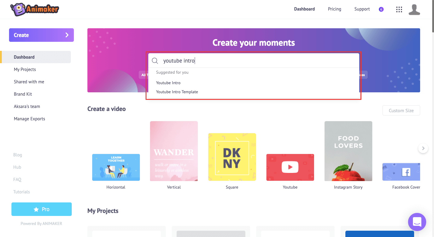 Search YouTube Intro templates