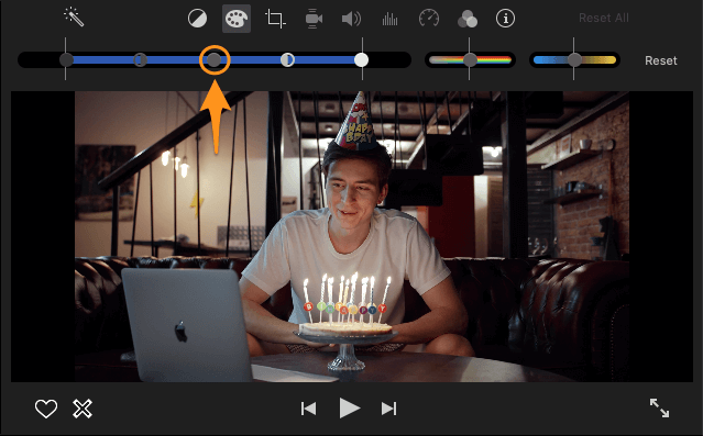 click and drag to the right to lighten video