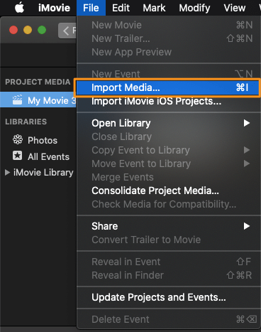 click file and select import media