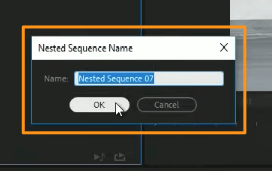 enter a name for the nested sequence and hit ok