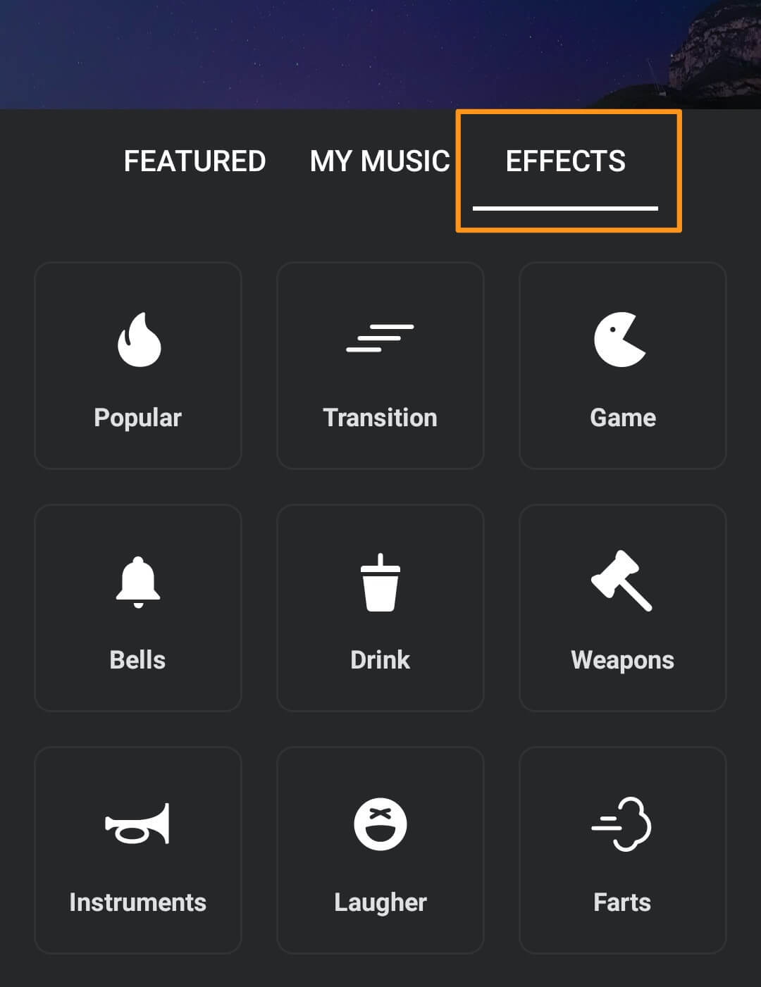 go to effects tab to add sound effects