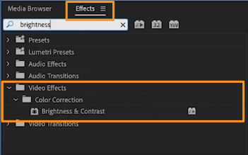 go to video effects and color correction and brightness & contrast
