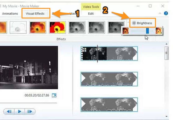 go to visual effects and brightness