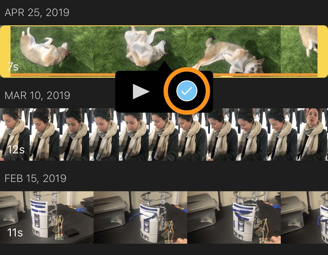 select the video to merge