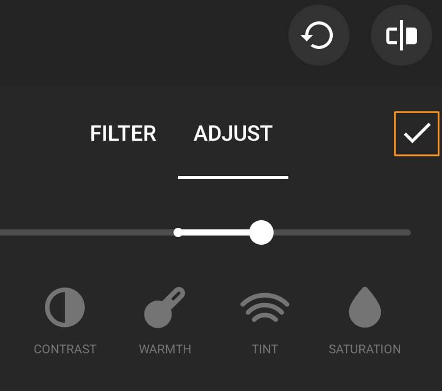 tap and drag lightness slider under adjust tab
