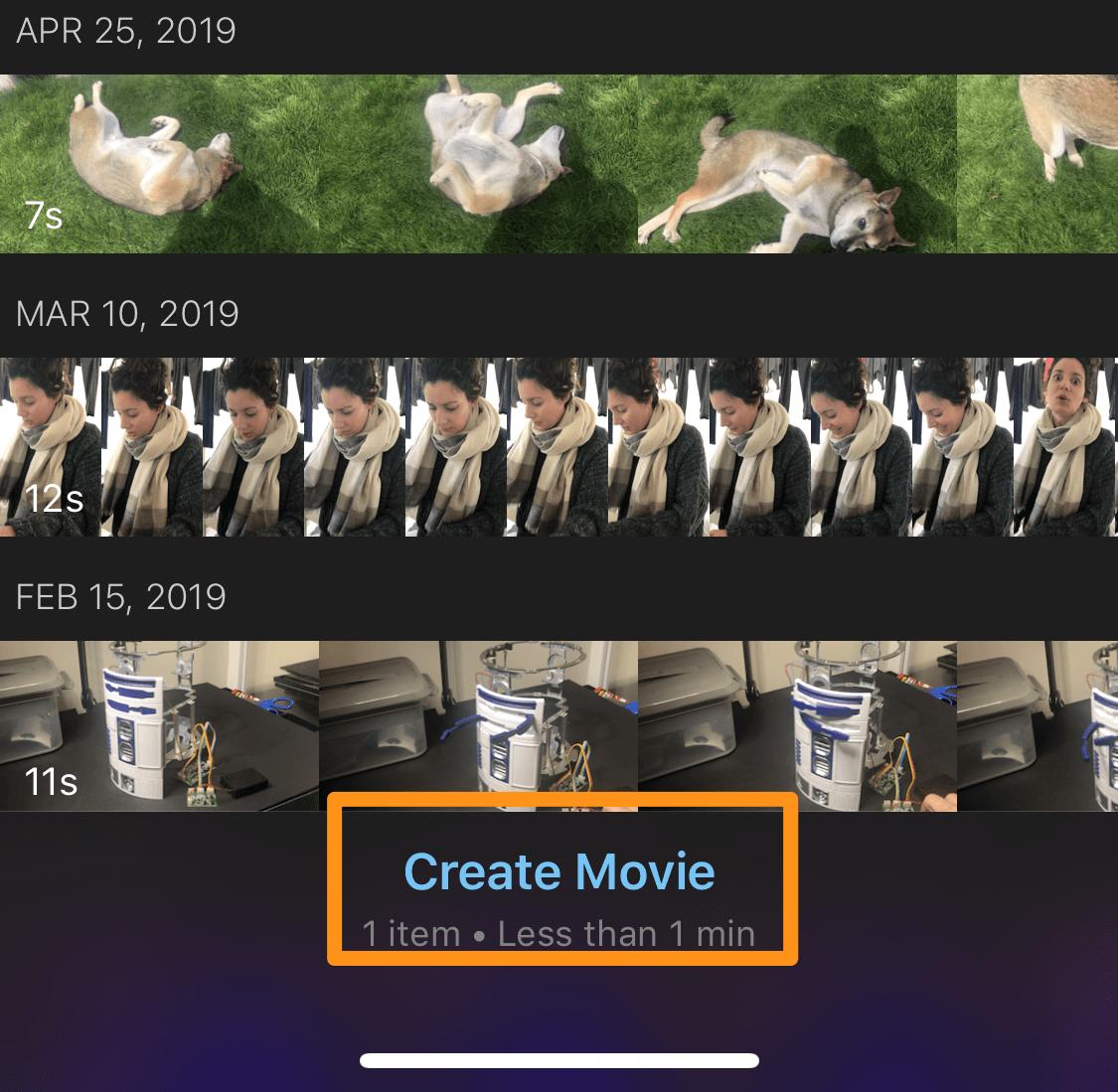 tap create movie